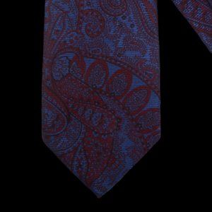 CANALI Mahogany Red Tropical Blue Paisley Tie